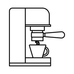 coffee espresso machine side view monochrome silhouette vector illustration