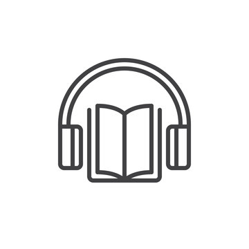 Audiobook line icon, outline vector sign, linear style pictogram isolated on white. Headphones and book symbol, logo illustration. Editable stroke. Pixel perfect vector graphics