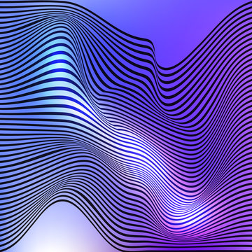 Abstract decorative diagonal crumpled wavy striped textured background. Seamless pattern. Vector.