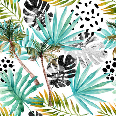 Poster de jardin Empreintes Graphiques Hand drawn abstract tropical summer background