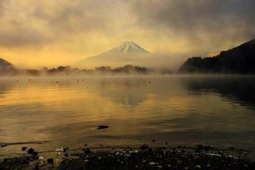 Mt. Fuji and Lake Shoji at sunrise, Japan