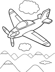 Spoed Foto op Canvas Cartoon draw Cute Aircraft Vector Illustration Art