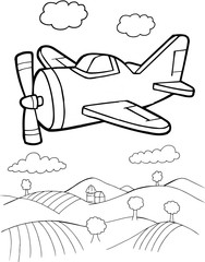 Acrylic Prints Cartoon draw Cute Aircraft Vector Illustration Art