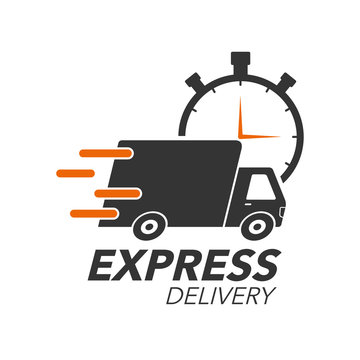 Express delivery icon concept. Truck with stop watch icon for service, order, fast, free and worldwide shipping. Modern design.