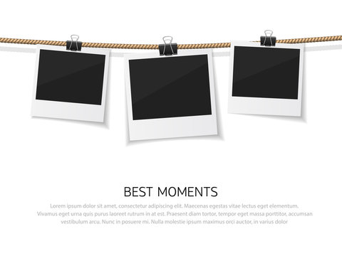 Set of vector instant photo hanged on rope. Realistic retro style instant fotos with thread
