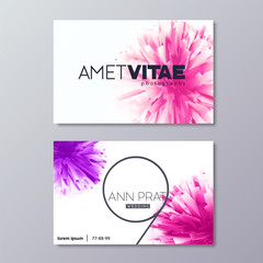 Floral abstract business card templates. Colorful splash - vector design elements isolated on white background.