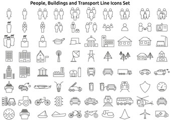 People, Buildings And Transport Line Icons Set