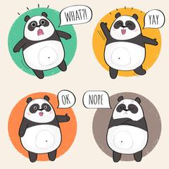 Set of cute panda bear stickers in various poses. Cartoon panda character