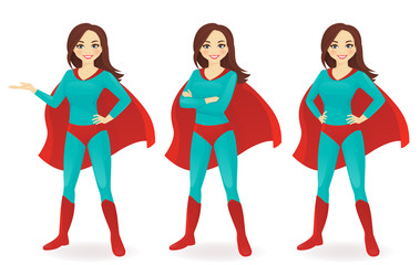 Superwoman in different poses vector illustration set