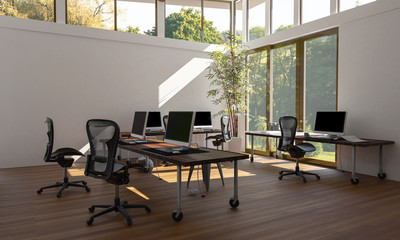 Empty eco style office workspace with computers