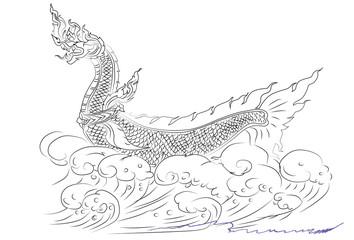 sketch line Thai Naga animal idea