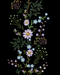 Embroidery texture flower seamless border. Floral fashion decoration textile fabric ornament. Small herb field daisy. Embroidered imitation vector illustration