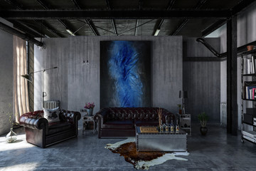 Industrial polished concrete living room interior