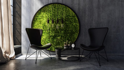 Chairs standing by wall with round moss art