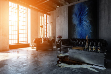 Polished concrete living room with bright windows