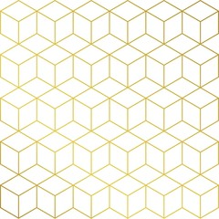 Gold and white cube background pattern. Fancy vector wallpaper template.