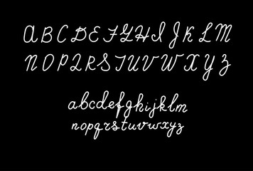 Hand drawn fonts. Handwritten alphabet style modern calligraphy