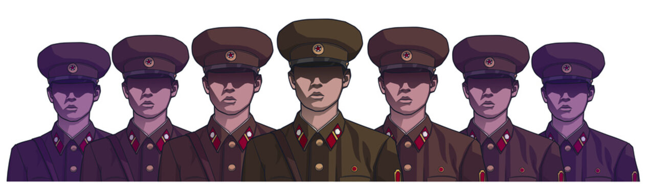 Illustration of north korean soldiers wearing uniform in color