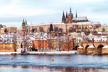 Wall Murals Prague Prague Castle and Charles Bridge at winter, Czech Republic.