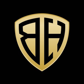 Initial letters logo bh gold monogram shield shape vector