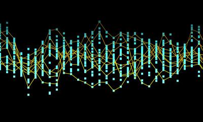 Generative random dot line wave background. Vector illustration. Concept of blockchain, fintect, big data, hacking, AI