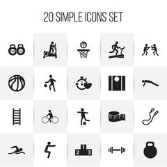 Set Of 20 Editable Healthy Icons. Includes Symbols Such As Stairway, Balance, Health Time And More. Can Be Used For Web, Mobile, UI And Infographic Design.