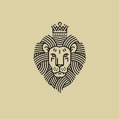 Royal Lion in the style of engraving line design for a premium logo or coat of arms. The lion with the crown symbolizes power and strength.