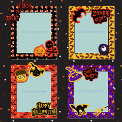 Set of Halloween photo frames vector for Halloween party, Halloween night, trick or treat, for scrapbook, gift tags, ghost, skeleton, skull, pumpkin, bat, cat, spider, monster eye and Jack-o-Lantern.
