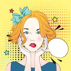 Pop art surprised woman face . Comic woman with speech bubble. Vector illustration.