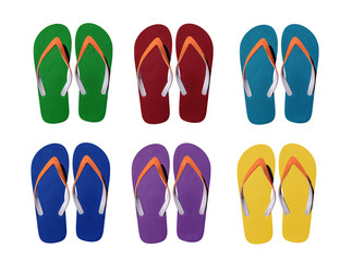 Man lifestyle six relax flip flops isolated on white