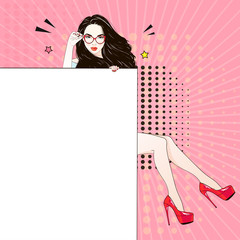 Comic Pop art long hair woman in red labutenes sits and holds a white banner and her glasses. Vector illustration.