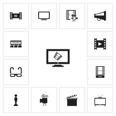 Set Of 13 Editable Filming Icons. Includes Symbols Such As Action, Camcorder, Oscar And More. Can Be Used For Web, Mobile, UI And Infographic Design.