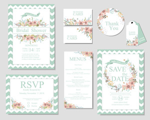 Set of wedding invitation card .Mint and pink color. spring concept.