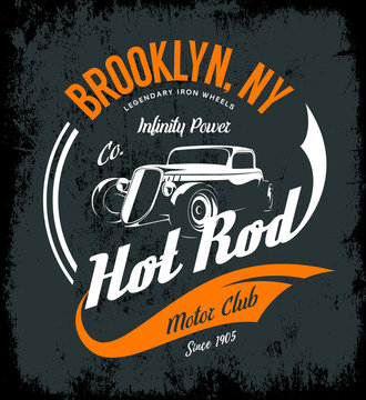Vintage hot rod vector logo concept isolated on dark background.