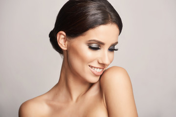 Beauty Girl with Makeup. Make-up for Brunette Woman. Beauty Face with smile