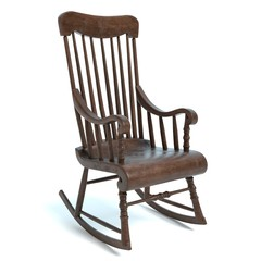 3d illustration of an old rocking chair