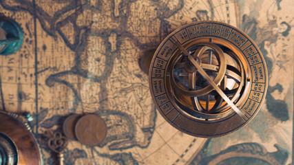 Antique Armillary Sundial Zodiac Pedestal