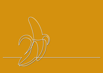 one line drawing of isolated vector object - peeled banana