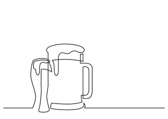 one line drawing of isolated vector object - beer pint and glass