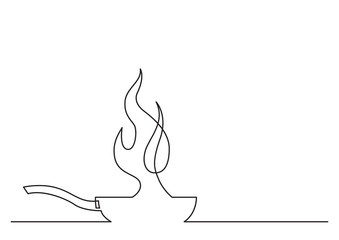 one line drawing of isolated vector object - frying pan with fire