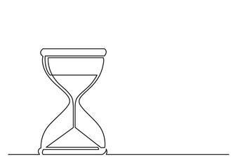 one line drawing of isolated vector object - hourglass