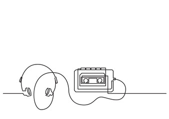one line drawing of isolated vector object - retro portable cassette player