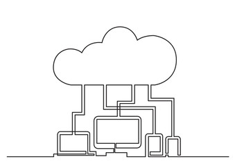 one line drawing of isolated vector object - digital devices connected via cloud