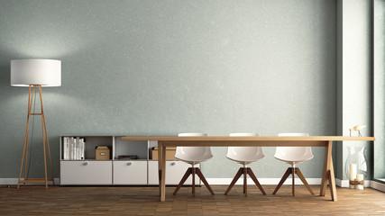 Esszimmer mit großem Holztisch vor hellgrüner Wand