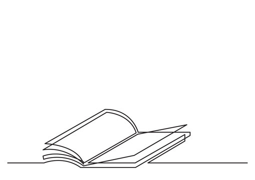 one line drawing of isolated vector object - open book with fying pages
