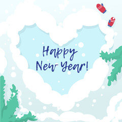 Happy new year card with winter