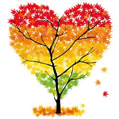 ハート型の紅葉のモミジの木のイラスト|Heart's Maple tree illustration