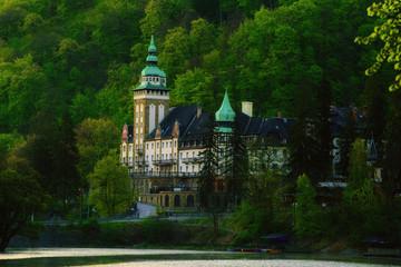 Lillafured palace in Miskolc, Hungary. Lake Hamori in foreground. Travel outdoor hipster landmark background