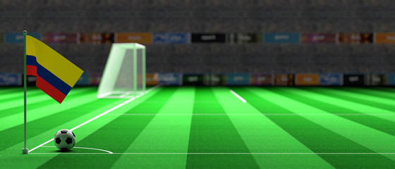 Colombia flag on a soccer field. 3d illustration