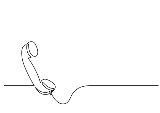 one line drawing of isolated vector object - phone receiver